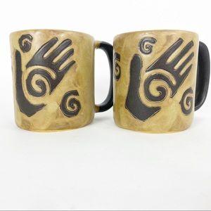 Mara Stoneware healing hands set Of 2 | 16oz mugs